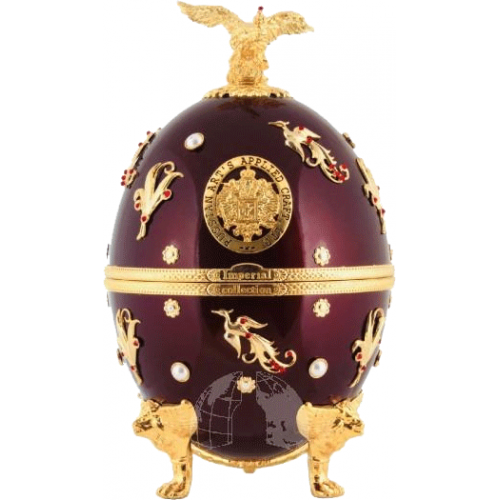 Faberge Egg Vodka Dark Red Flowers and Birds Collection