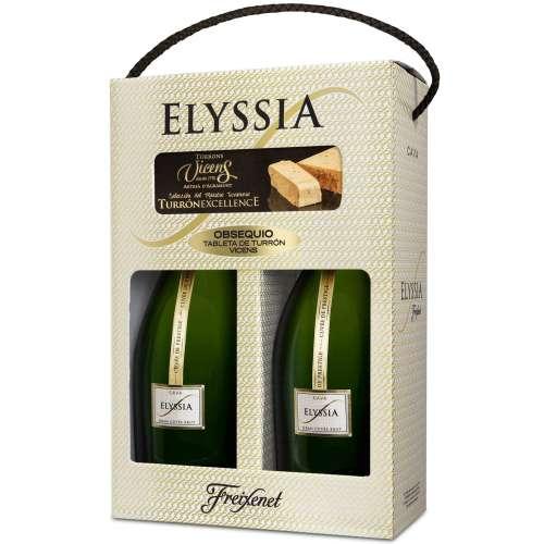 Estuche 2 botellas Freixenet Elyssia Gran Cuvée + Turron Vicens